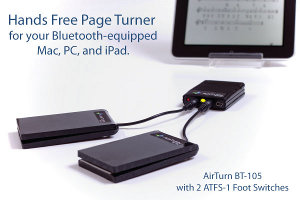 AirTurn Bluetooth BT-105 with 2 ATFS-1 Black Foot Switches